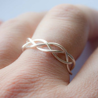 Adjustable Silver Braided Ring, Gifts under 20, bridal