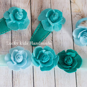 Felt accessories,Handmade blue roses set of felt hair accessories, hairband, hair clips and a ponytail elastic, Free international shipping