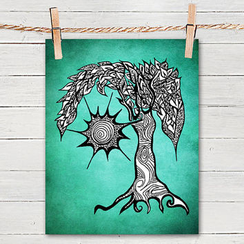 Mystic tree 8x10 print poster of art from pom graphic design