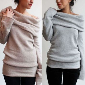 Womens Off Shoulder Knitted Long Sleeve Jumper Sweater