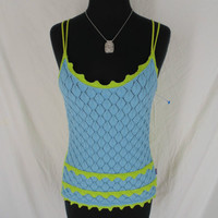 Oilily top L LARGE blue green knit double strap tank made in Italy