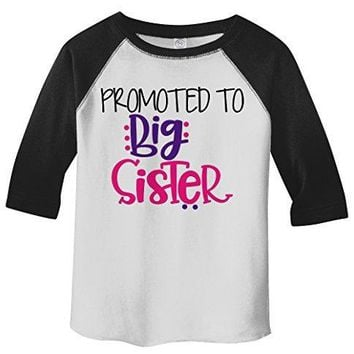 Shirts By Sarah Girl's Toddler Promoted To Big Sister 3/4 Sleeve Raglan
