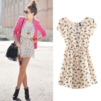 2015 Bargain HOT SALE Women Spring Summer New Fashion Animal Bird Print Vintage Mini Dress Plus Size S-XXXL = 1753519108