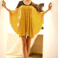 OASAP - Contrast Lace Bat Sleeve Loose Blouse - Street Fashion Store