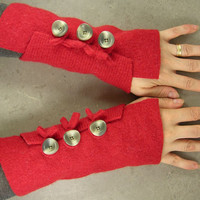 red felted arm warmers fingerless mittens arm cuffs by piabarile