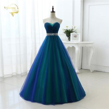 New Design A Line Sexy Fashion Long Prom Dresses 2017 Sweetheart Soft Tulle Vestidos de Festa Party Hot Sale Prom Dress OP33081