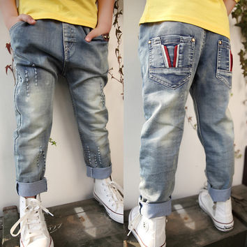 Free shipping new arrival children's jeans boy's jeans trousers spring/autumn boy's leisure cowboy pants