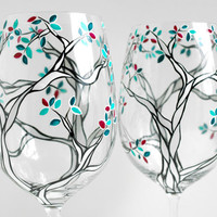 Black and White Trees with Custom Colored Leaves--Set of 2 Hand Painted Wine Glasses