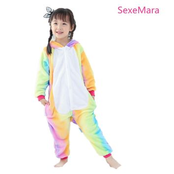 Rainbow Star Unicorn Pajamas Kigurumi Kids Animal  Flannel Anime Cartoon Costumes Sleepwear Cosplay Onesuit  Panda Christmas