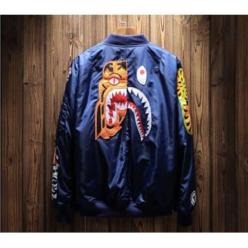 Men Aviator Jacket Coat ape man shark tiger embroidery baseball coat cotton