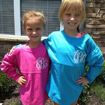 CUSTOM YOUTH Printed Long-Sleeve Jersey with Greek (Fraternity or Sorority) or Monogram Print- GREAT for sports teams!