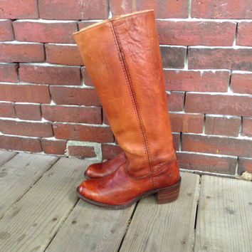 vtg 60s 70s FRYE Campus Knee High Leather by DreamingTreeVintage