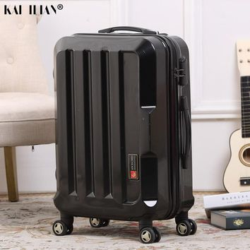 Men spinner rolling luggage 20''24'' travel suitcase on wheels - Silver black carry -on Cabin luggage