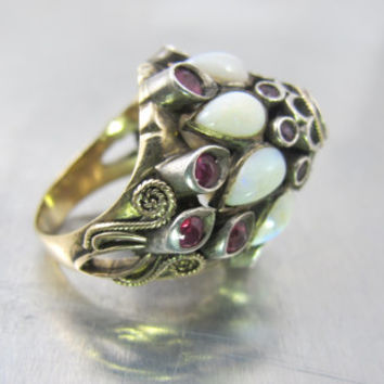 Antique Siam Princess Harem Ring, 14K Moghul Thai Crown Ruby Spinel Opal Gemstones, 1920s Unique Engagement Bridal Jewelry,
