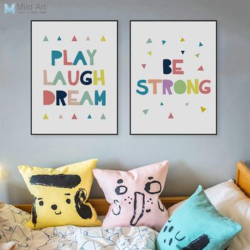 Kawaii Motivational Inspire Quotes Posters Print Nordic Kids Baby Nursery Room Wall Art Picture Color Home Decor Canvas Painting