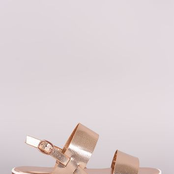 Women Sandal Platform By Bamboo | Double Band Glitter Lug Sole and adjustable slingback strap with buckle fastening Flatform Sandal