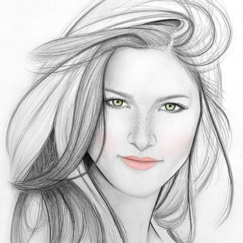 "Custom portrait in paper with pencil and a touch of color. 11x14"". Personalized portrait. Custom gift. Black and white drawing."