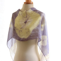 Naturally dyed scarf, purple green grey Shibori silk scarf, hand dyed shawl, weld logwood dyed, yellow white pattern.