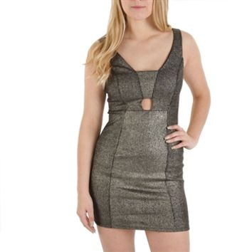 Soprano Juniors Shimmering Striped Cutout Dress at Von Maur
