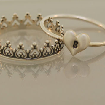 Princess Initial stacking ring