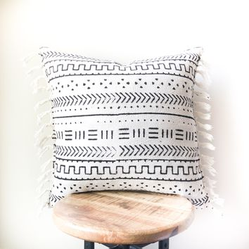 TRIBAL MUDCLOTH Style Pillow with tassels