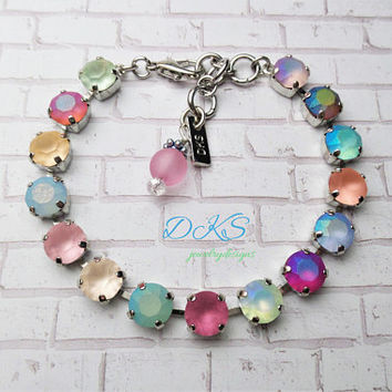 Summer Pastels, Swarovski Crystal Bracelet, 8mm, Bridal, Custom Pastel Stones, Multi Color, Adjustable, DKSJewelrydesigns, FREE SHIPPING
