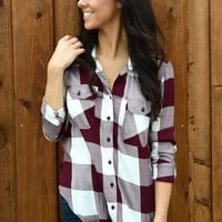 Red Wine Plaid Long-Sleeve Pocket Shirt