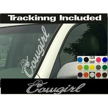 "Cowgirl Rope Hat Vertical Windshield  Die Cut Vinyl Decal Sticker 4"" x 22"""
