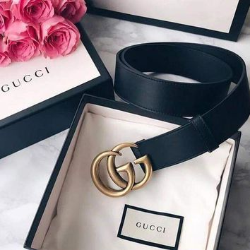 GUCCI classic fashion trend versatile simple smooth buckle belt