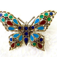 Vintage Butterfly Brooch, Enamel Butterfly Pin, Nature Jewelry, Designer Signed Art
