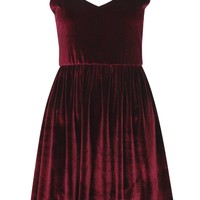 Shelly Strappy Velvet Skater Dress