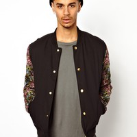 ASOS Bomber With Floral Sleeves - Black