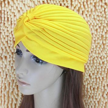 Indian Style Stretchable Yoga Hat Turban Headwrap Hair Head Wrap Cap Lady women hair accessorice