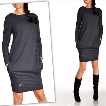 2016 Fashion Autumn Winter Women Dress New Casual Clothing Tight Party Dresses Long Sleeve Plus Size Vestidos M0015