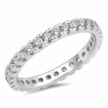 Sterling Silver CZ Simulated Diamond Eternity Ring