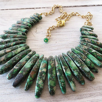 Jasper necklace, spike necklace, green emerald bib necklace, statement necklace, beaded necklace, gemstone jewelry, contemporary jewelry