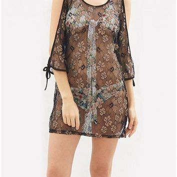 B| Chicloth Women Sheer Floral Lace Beach Cover Up Kaftan Swimwear Beachwear Bikini Dress