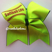 Softball Life Bow/cheer bow/neon bow