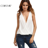 COLROVIE White Deep V Neck Surplice Shirt Female Work Wear Sleeveless Tops Plain Summer Hollow Out Loose Blouse