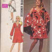 1970s vintage designer pattern for V neck cocktail, party or summer dress and shawl misses size 14 Simplicity 8727 CUT and COMPLETE