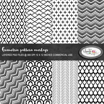 Geometric Photoshop overlays, PSD templates, layered paper templates, patterns, black and white patterns