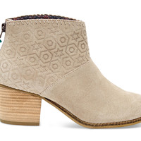 OXFORD TAN SUEDE EMBOSSED WOMEN'S LEILA BOOTIES