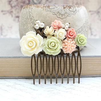 Flower Collage Comb Floral Wedding Bridal Hair Accessories Coral Peach Green Ivory Cream Rose Pearls Shabby Chic Romantic Brass Metal Comb