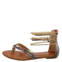 PRINTED CHAIN ANKLE CUFF THONG SANDALS