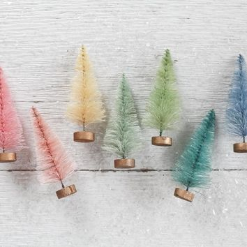 Rainbow Bottle Brush Trees - 7 Dyed Pastel Miniature Sisal Trees