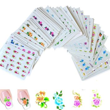 50sheets Beauty Designs Water Transfer Nail Art Sticker Decals NEW Flower DIY French Tips Nail Decals Mixed Styles XF1051-1100