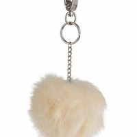 Fluffy Ball Key Ring - Cream