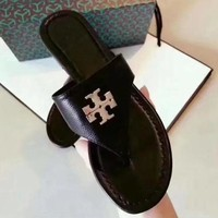 Tory Burch New Style Trending Women Simple Leather Slipper Sandals Shoes Black