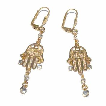 1-1237-f3 18kt Brazilian Gold Layered Hamsa Chandelier Earrings with Crystals.