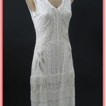 1920's Style Beaded Fringed White Flapper Dress-20s Inspired Wedding Dresses